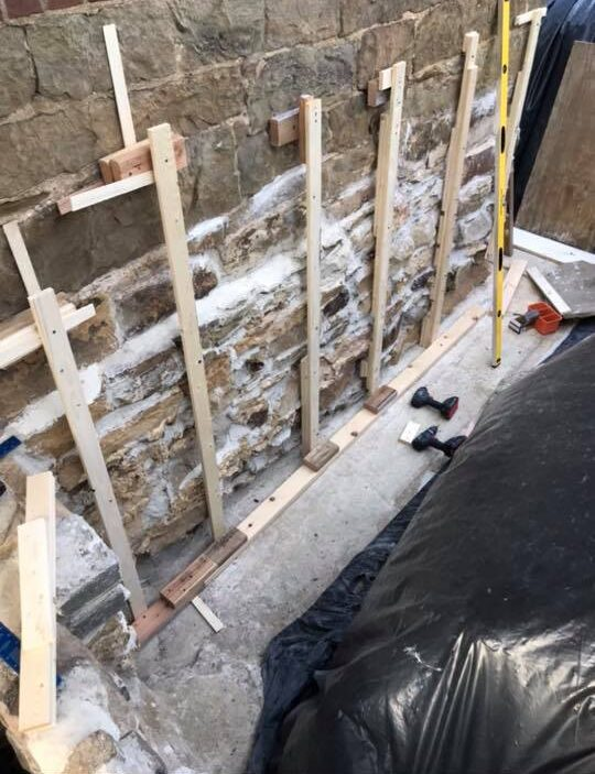 Parging and framing of foundation