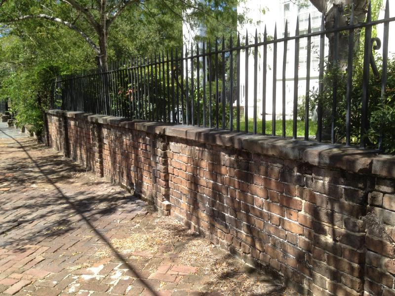 """Before"" photo at 2nd Presbyterian Church retaining wall in Charleston"